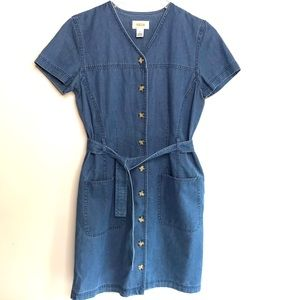 Talbots Tortoise Button Front Denim Tie Dress